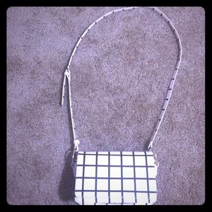 Black and white shoulder purse